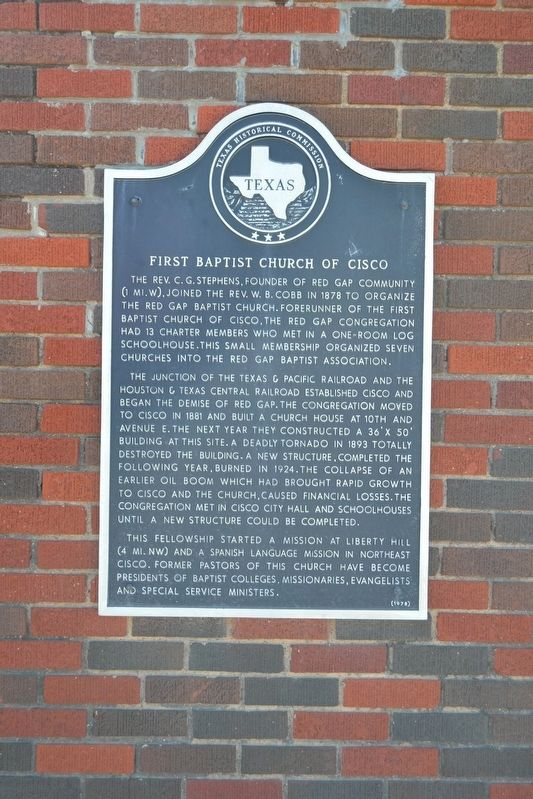 First Baptist Church of Cisco Marker image. Click for full size.