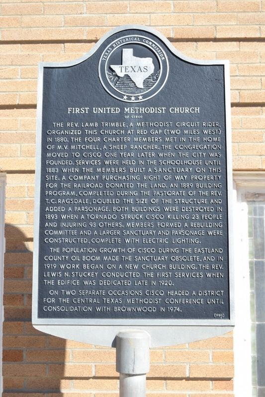 First United Methodist Church of Cisco Marker image. Click for full size.