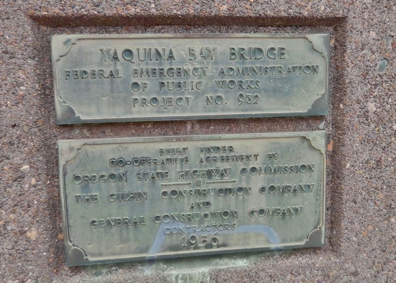 Yaquina Bay Bridge Construction Plaque image. Click for full size.