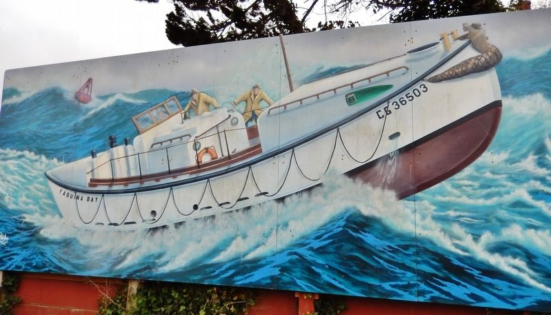 United States Coast Guard Motor Lifeboat CG 36503 Mural (<i>near marker</i>) image. Click for full size.