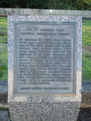 Site of Astoria's First Electric Generating Station Marker image. Click for full size.