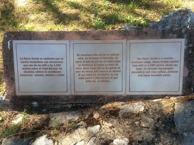 An additional marker on the walkway about the Sierra Gorda image. Click for full size.