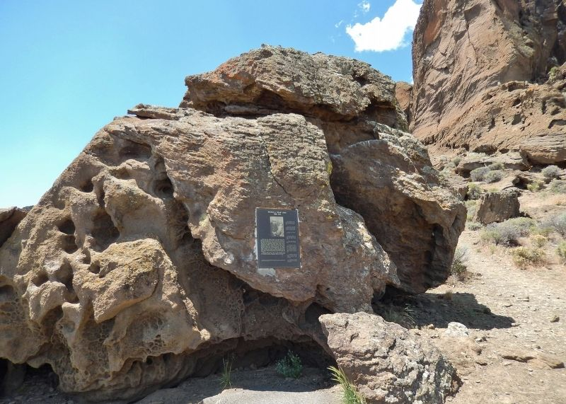 "Reuban A. ""Reub"" Long Marker (<i>wide view; Fort Rock in background</i>) image. Click for full size."