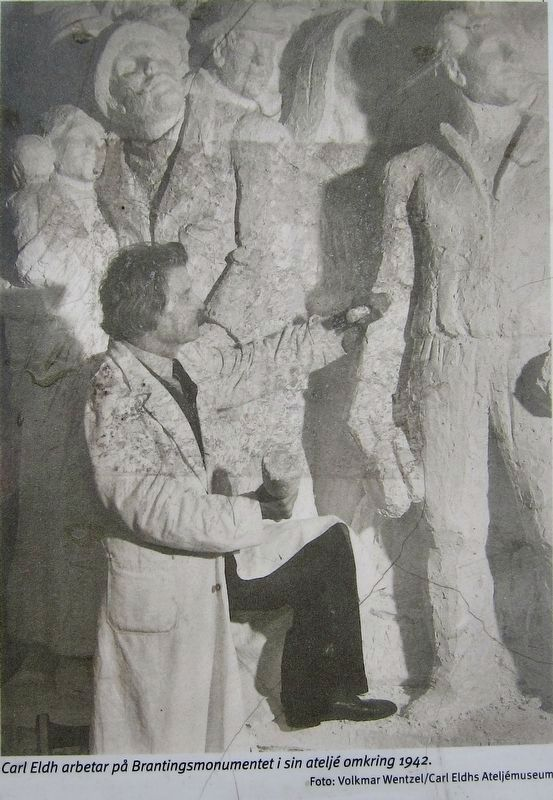 Marker Inset Photo: Carl Eldh works on the monument in his studio, about 1942. image. Click for full size.