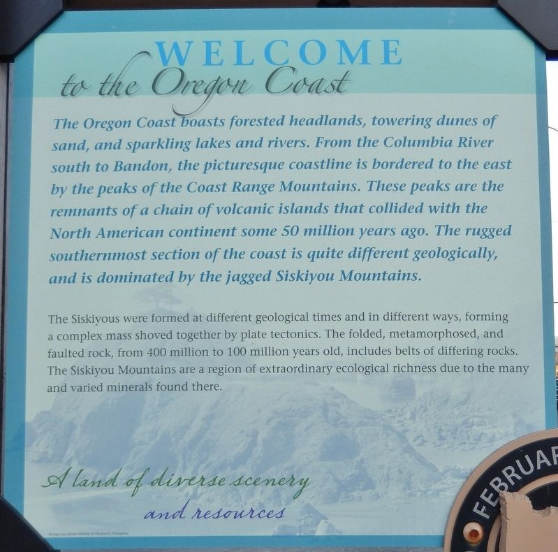 Welcome to the Oregon Coast Marker <i>Panel 1</i> image. Click for full size.