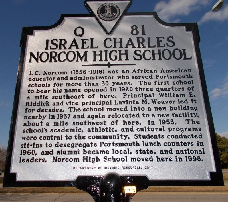Israel Charles Norcom High School Marker image. Click for full size.