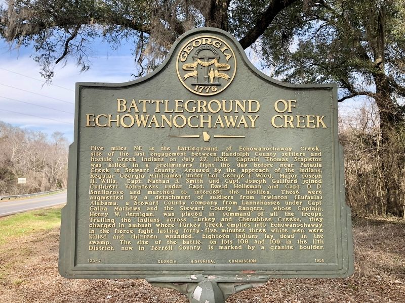 Battleground of Echowanochaway Creek Marker image. Click for full size.