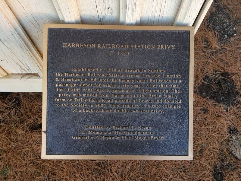 Harbeson Railroad Station Privy Marker image. Click for full size.