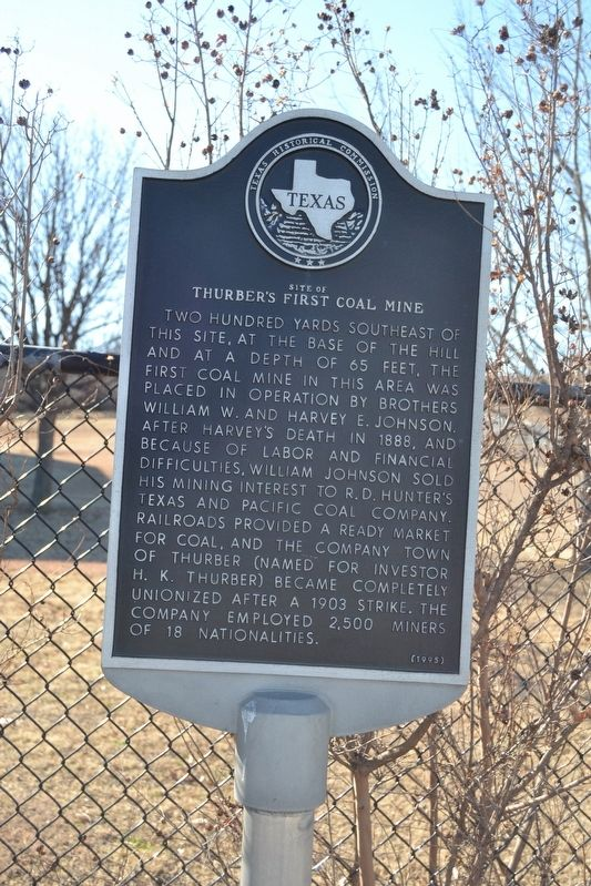 Site of Thurber's First Coal Mine Marker image. Click for full size.