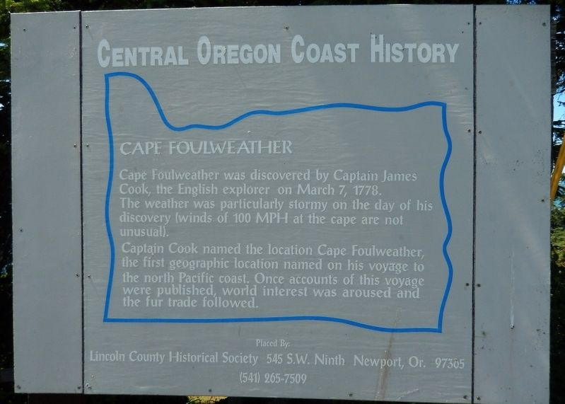 Cape Foulweather Marker image. Click for full size.
