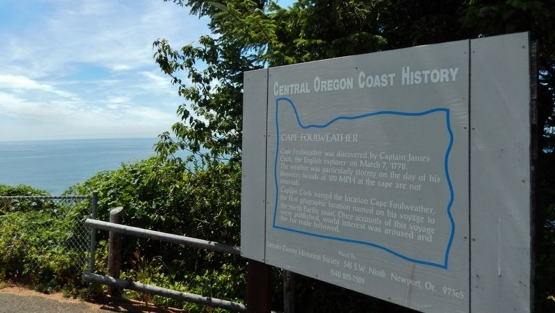 Cape Foulweather Marker (<i>wide view</i>) image. Click for full size.