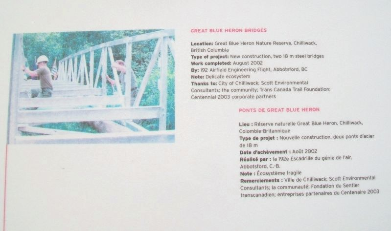 """Bridges for Canada""/« Ponts pour le Canada » Great Blue Heron Bridges Marker image. Click for full size."