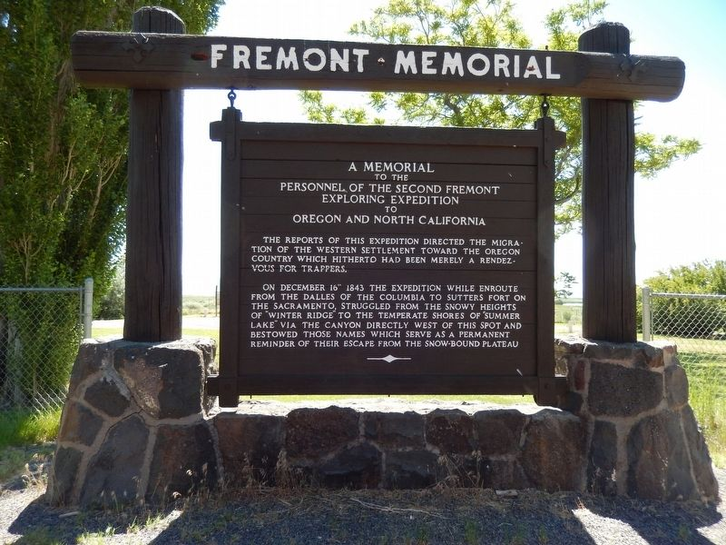 Fremont Memorial Marker (<i>side 1; wide view</i>) image. Click for full size.
