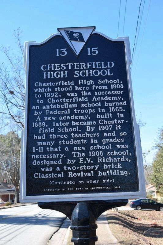 Chesterfield High School Marker (front) image. Click for full size.
