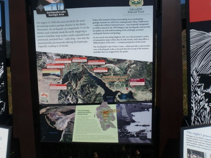 Earthquake Lake Geologic Area Marker image. Click for full size.