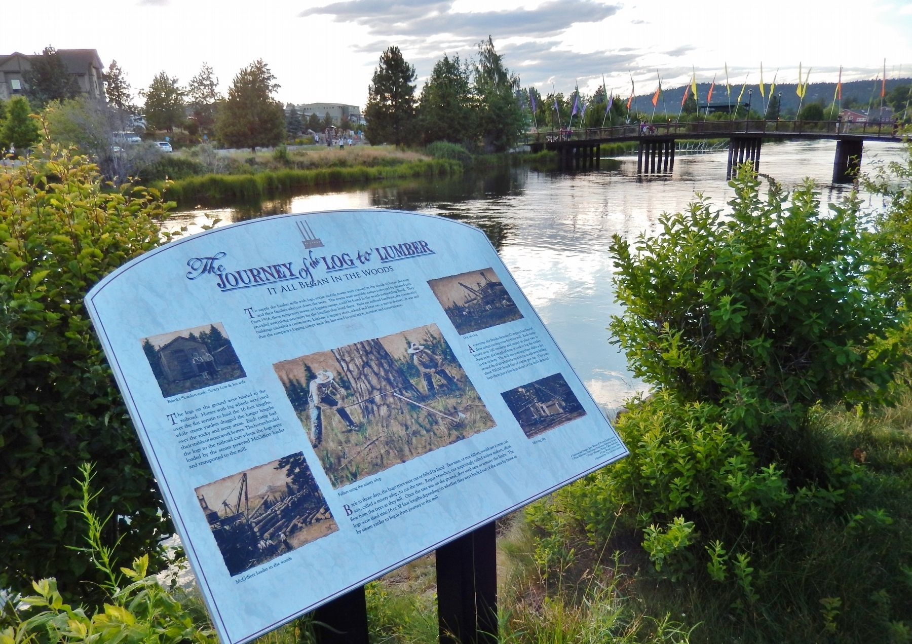 Journey of the Log to Lumber Marker (<i>wide view; Deschutes River in background</i>) image. Click for full size.