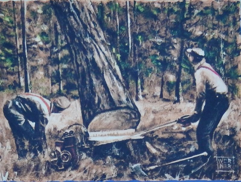 Marker detail: The modern faller was an artist with a chainsaw image. Click for full size.