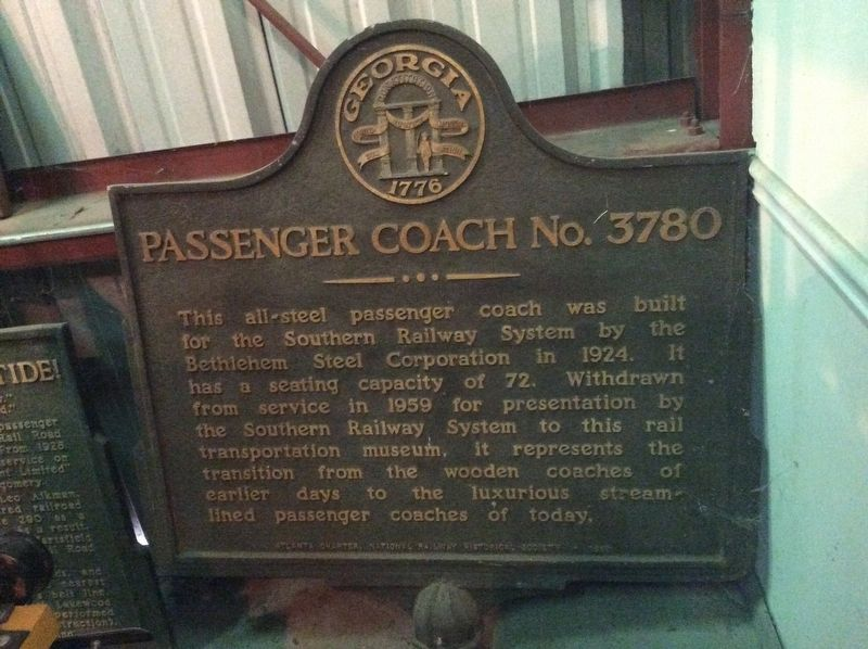 Passenger Coach No. 3780 Marker image. Click for full size.
