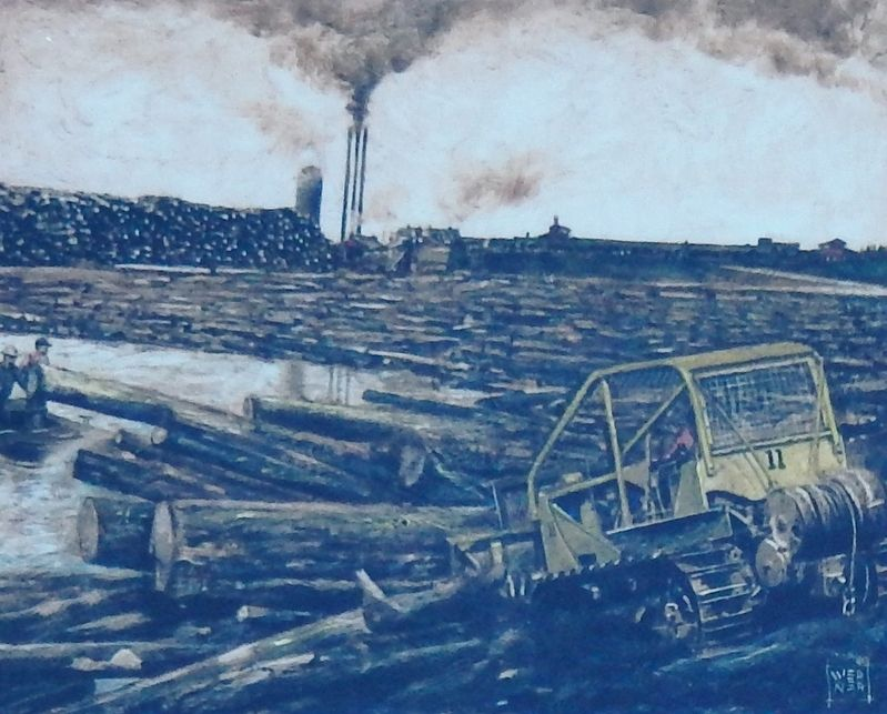 Marker detail: Logs are dumped into the mill pond image. Click for full size.