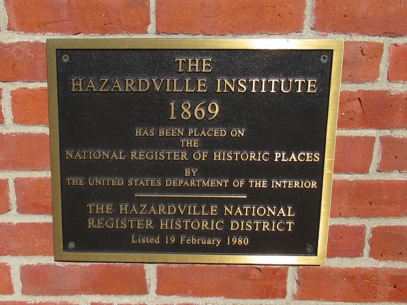 The Hazardville Institute Marker image. Click for full size.