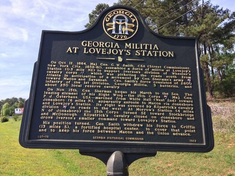 Georgia Militia at Lovejoy's Station Marker image. Click for full size.