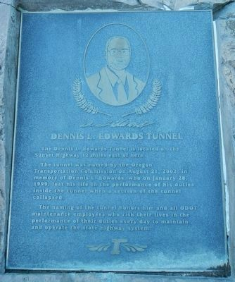 Dennis L. Edwards Tunnel Marker image. Click for full size.