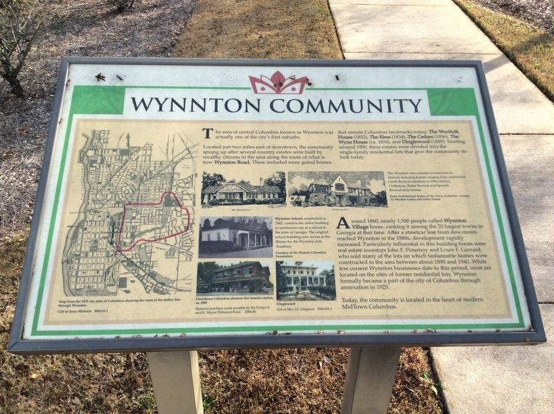 Wynnton Community Marker image. Click for full size.
