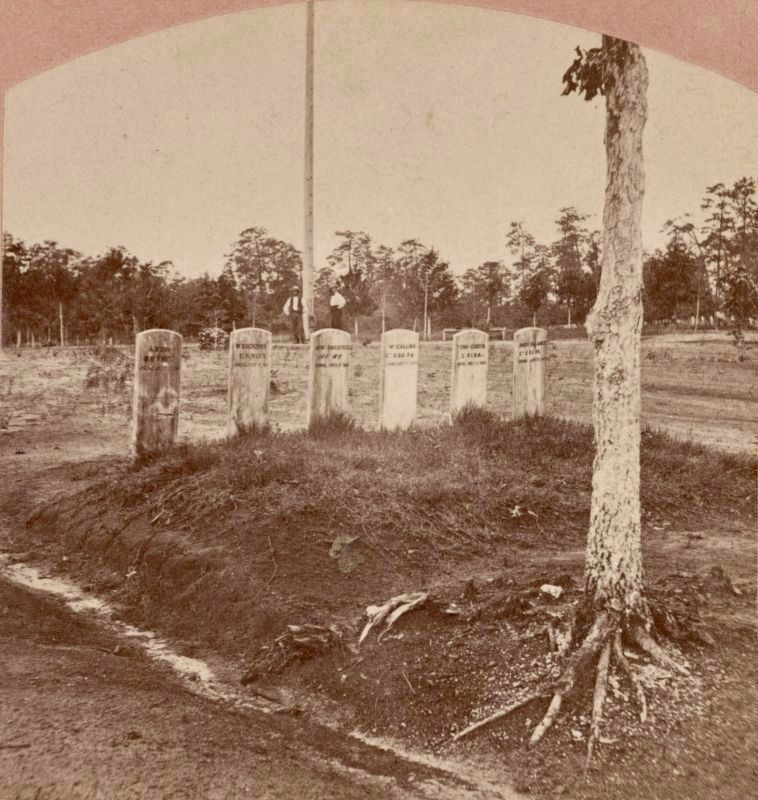 <i>Graves of the six men hung at Andersonville, Ga., July 11th, 1864</i> image. Click for full size.