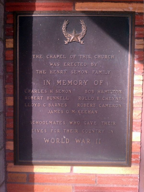 Mt. Laki Community Presbyterian Church World War II Memorial Marker image. Click for full size.