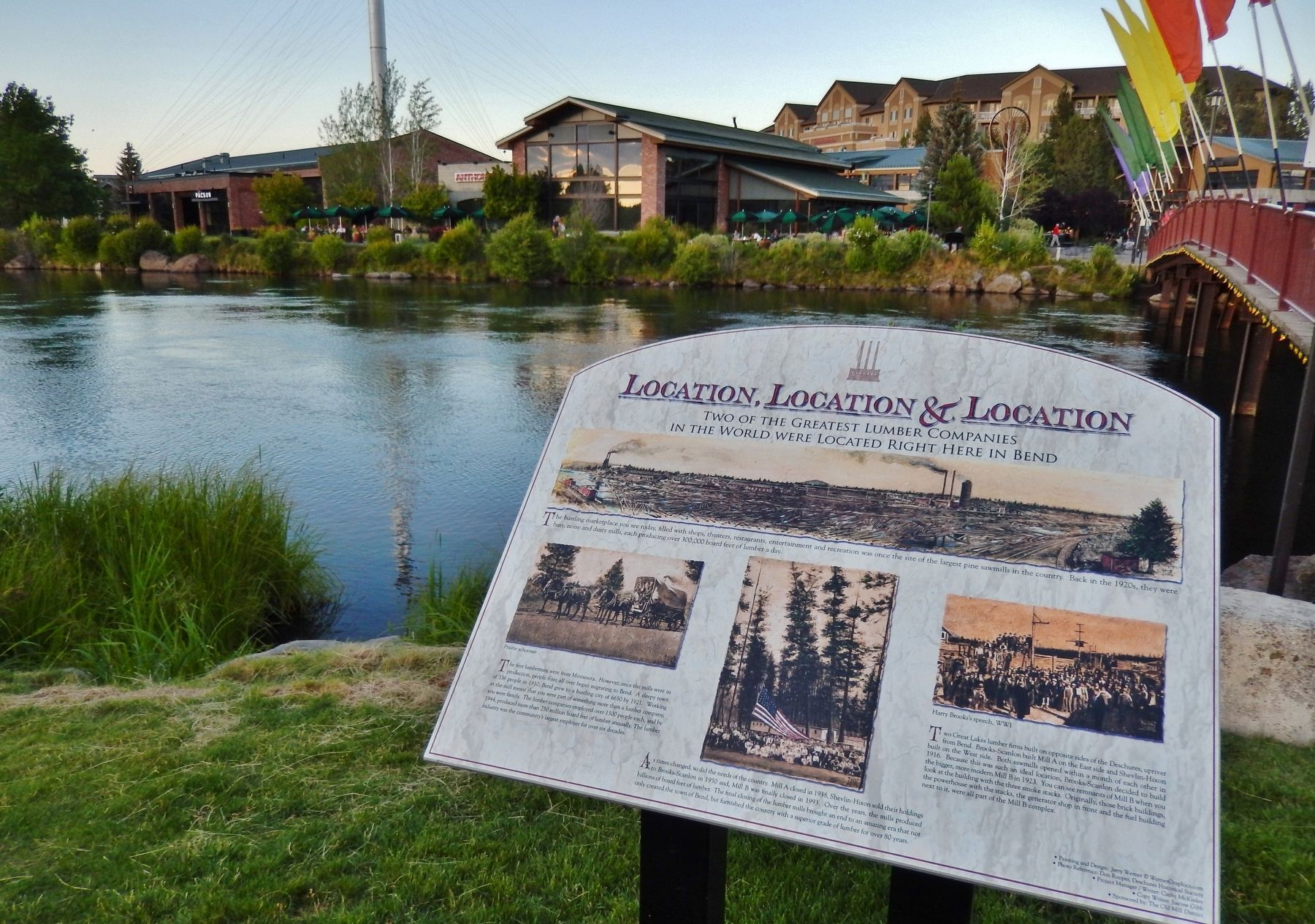 Location, Location & Location Marker (<i>wide view; Deschutes River & foot bridge in background</i>) image. Click for full size.