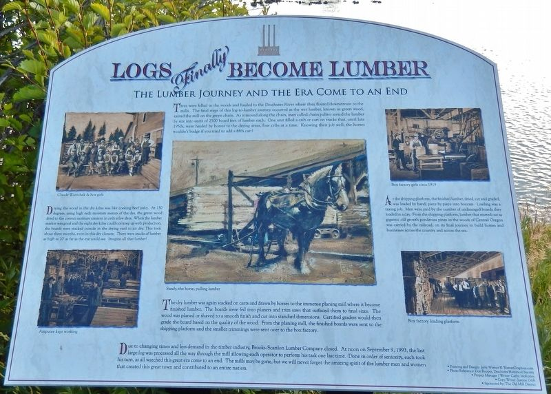 Logs Finally Become Lumber Marker image. Click for full size.
