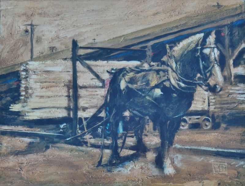 Marker detail: Sandy, the horse, pulling lumber image. Click for full size.