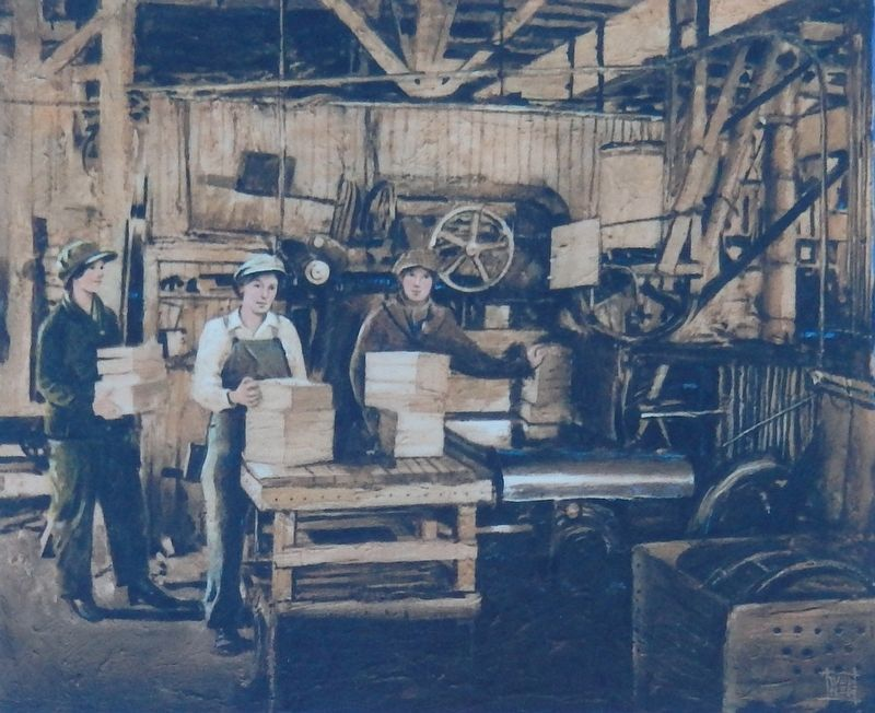 Marker detail: Box factory girls circa 1919 image. Click for full size.