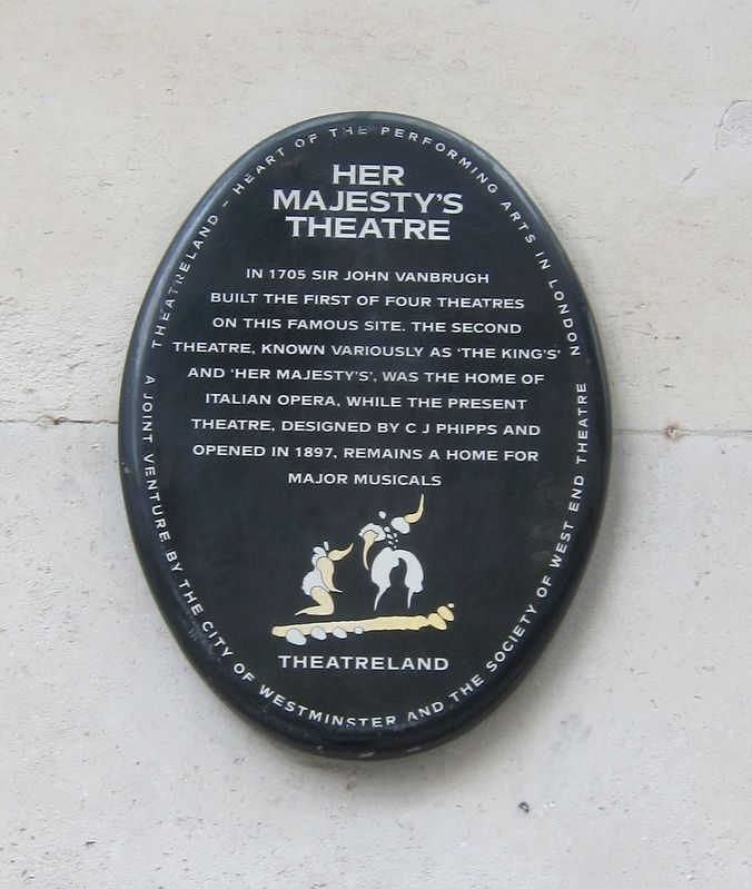 Her Majesty's Theatre Marker image. Click for full size.