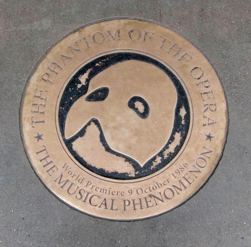 Phantom of the Opera - World Premiere Plaque in front of theatre image. Click for full size.
