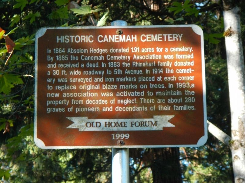 Historic Canemah Cemetery Marker image. Click for full size.