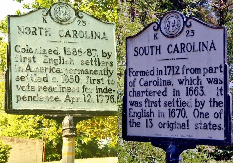 North Carolina/South Carolina Marker image. Click for full size.