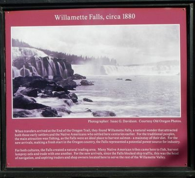 Willamette Falls, circa 1880 Marker image. Click for full size.