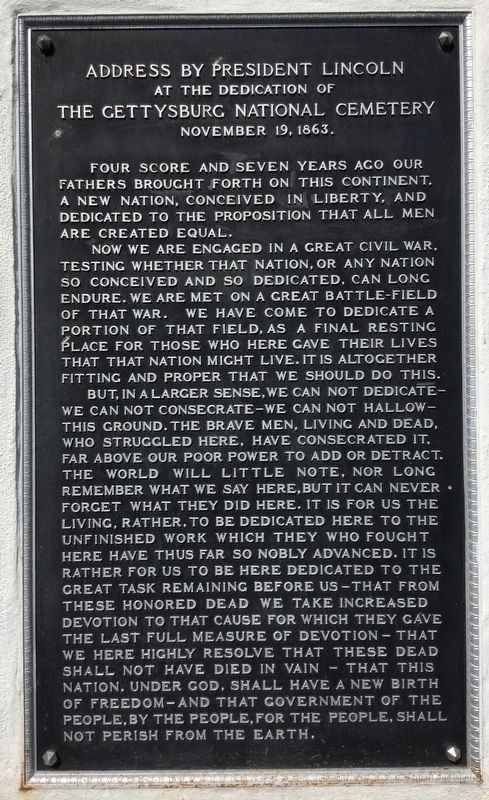 Address by President Lincoln Marker image. Click for full size.