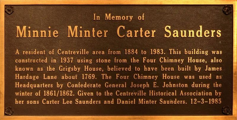 Minnie Minter Carter Saunders Marker image. Click for full size.