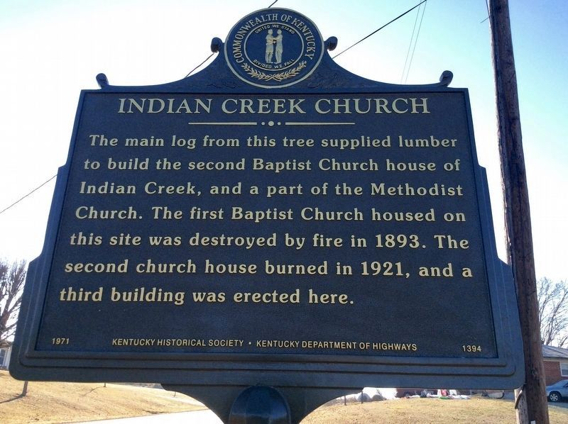 Famous Tree / Indian Creek Church Marker image. Click for full size.