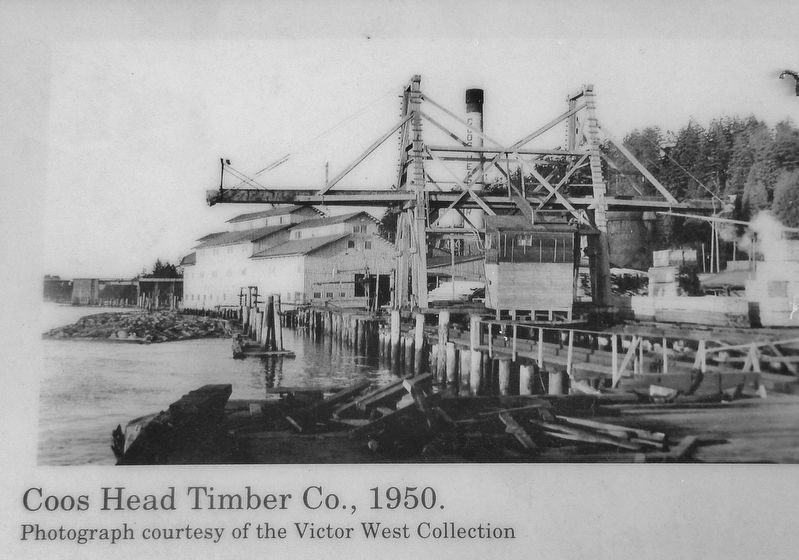 Marker detail: Coos Head Timber Co. 1950 image. Click for full size.