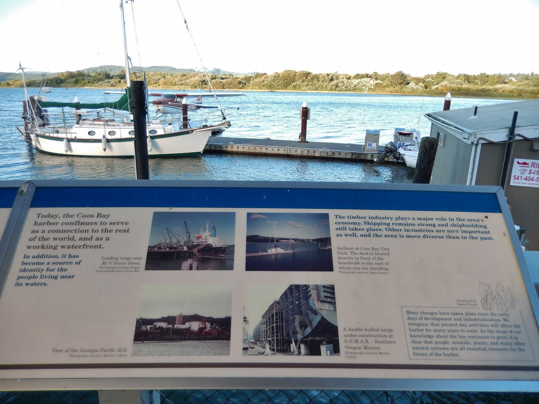 The Changing Waterfront Marker (<i>right panel; wide view; sailboat in background</i>) image. Click for full size.