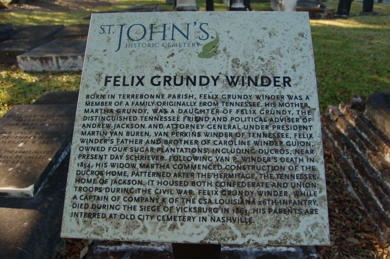 Felix Grundy Winder Marker image. Click for full size.