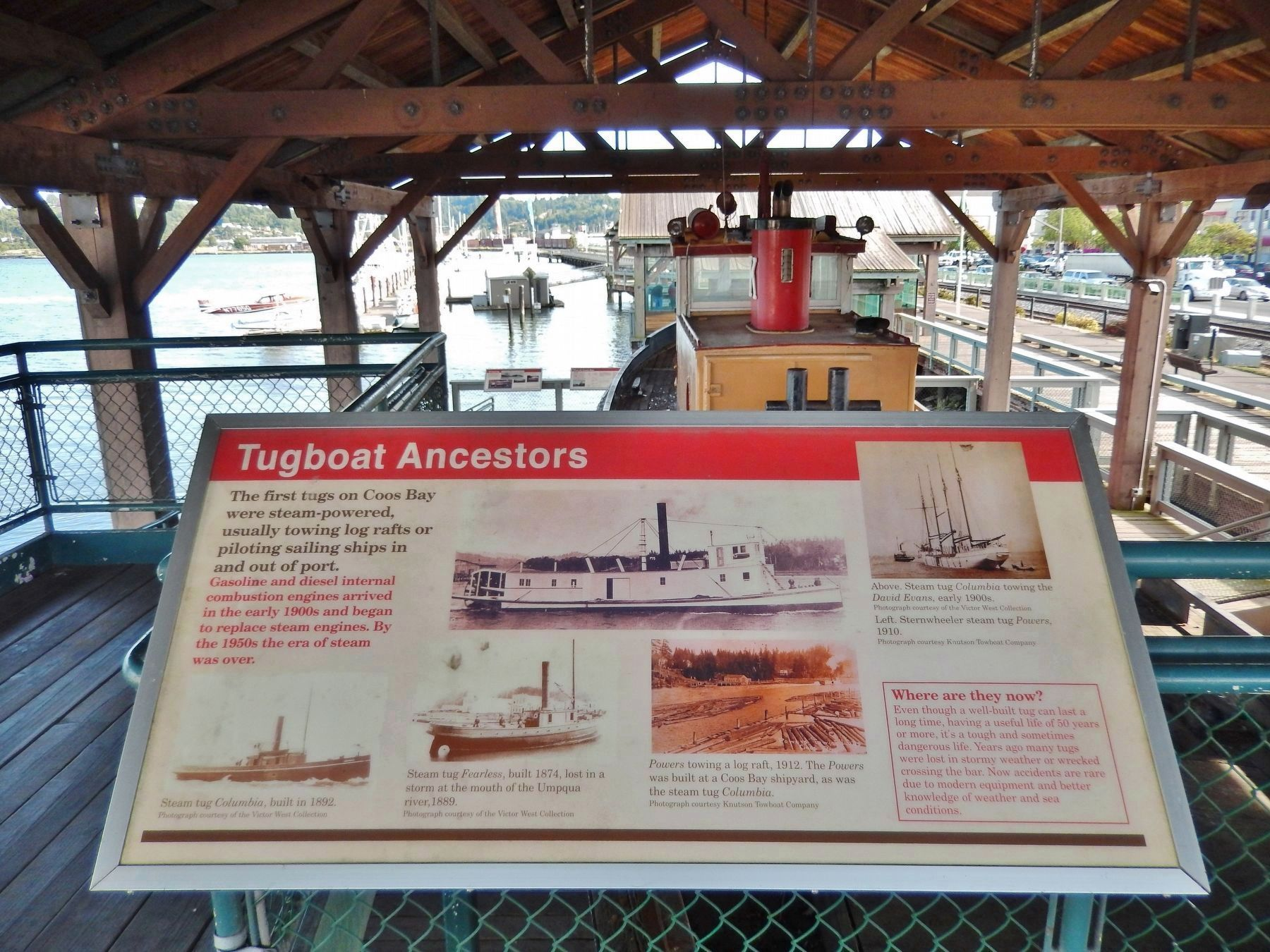 Tugboat Ancestors Marker (<i>wide view; Coos Bay Board Walk to the right</i>) image. Click for full size.