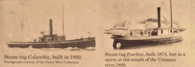 Marker detail: Steam Tugs <i>Columbia</i> (1892) and <i>Fearless</i> (1874) image. Click for full size.