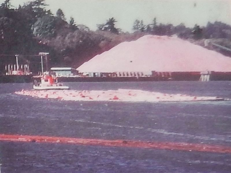 Marker detail: Ocean-going tug towing barges across the Coos Bay bar image. Click for full size.