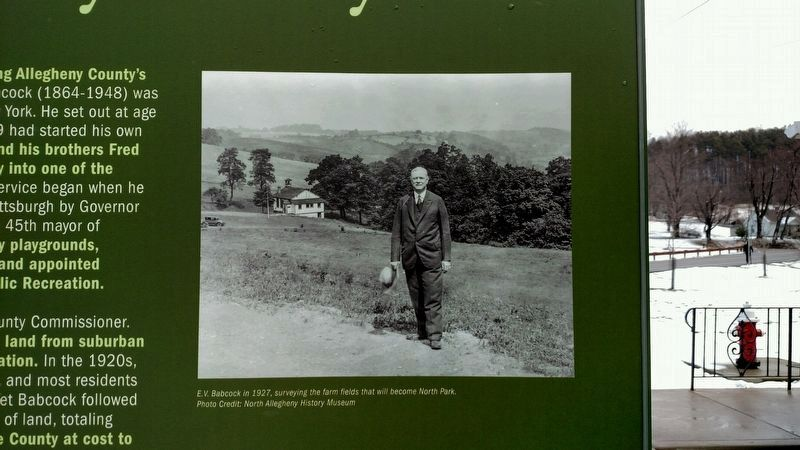 E.V. Babcock-The Father of Allegheny County Parks Marker image. Click for full size.