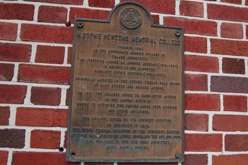 H. Sophie Newcomb Memorial College Marker image. Click for full size.