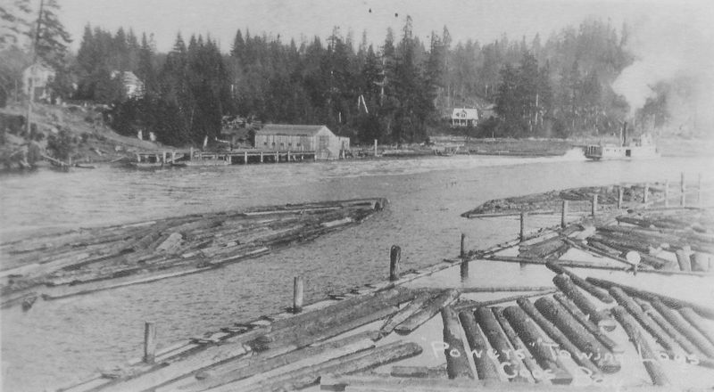Marker detail: <i>Powers</i> towing a log raft, 1912 image. Click for full size.